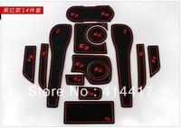 2011 2012 2013 KIA Rio/K2 High quality Silica gel Door Gate Slot Pad Teacup Mat Non-slip Pads(14 pcs) gh