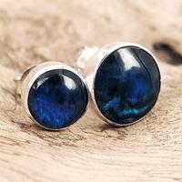 Karebi elegant male female 925 pure silver natural abalone shell stud earring blue limited edition
