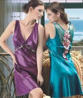Free shipping Women Emulation silk pajamas Women sexy Sleepwear dress women sexy dress 3 color M-3XL