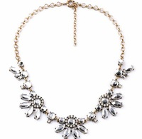Free Fashion Beautiful J.e.w.e.l Crew Multi Colour Crystal Fan Statement Necklace Clear Translucent Crystal New
