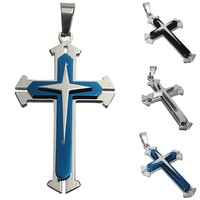 New Fashion Men's Stainless Steel Cross Pendant Necklace Sliver Black White Blue