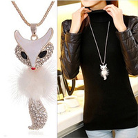 Kitten fox necklace long design fashion crystal long necklace design female