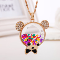 Vintage all-match bear necklace female long design fashion crystal necklace all-match