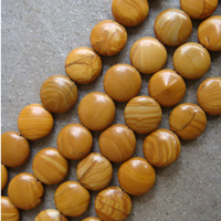 Free Shipping 12mm Natural Wood Grain Jasper Coin Loose Beads For Jewelry  Making 64pcs/lot  wholesale