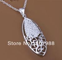 New 2014 !  925 silver fashion women  oval charms flower pendant silver roll chain jewelry necklace YN09