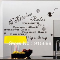 'Kitchen Rules' English Quote Black Vinyl Wall Decals Original Design Wall Stickers Home Decor TM8159