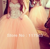 Peach Color Sweetheart Fully Rhinestone Floor Length Long Debutante Dress Prom Dress Women Free Shipping WH414