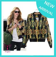 Fashion European style vintage printing jackets women short design women baseball long sleeve zipper coat WO-133
