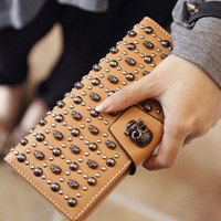 Fashion Bags Women Genuine Cowhide Leather Walletes Female Skull Long Design Wallet motorcycle Small Purse Day Clutch