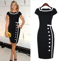 2014 European and American retro hit color stitching temperament single-breasted skirt pencil skirt dress