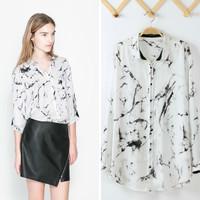 Hot sale 2014 Brand za*@ Plus size Blouses Chiffon Shirt Blusa Women OL Dresses Vintage crochet  Autumn -Summer Free Shipping