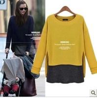 2014 NEW  fashion high quality fashion loose faux two piece set medium-long basic shirt long-sleeve t-shirt female