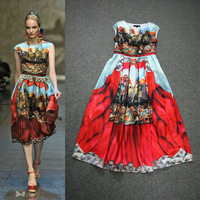 Women's Baroque Knight O-neck Sleeveless Printed Dress Ladies Knee Length 100% Silk Novelty Dress 2014 Spring Summer European