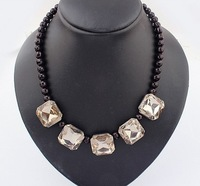 Min.Order $15 (Mix Wholesale) Factory Outlet Jewelry, Europe Vintage Gemstone Short Style Women Alloy Necklaces,N594