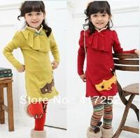 Children's dress wholesale  spring autumn style bowknot kitten long-sleeved dress/characteristics collar  5pcs