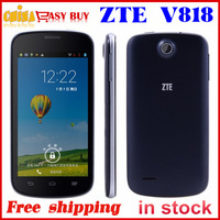 Original ZTE V818 dual core mtk6572 smart phone 4.5 inch android 4.2 512MB RAM 4GB ROM 3G phone multi-language support GPS