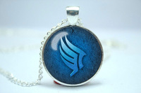 Handmade Mass Effect Paragon symbol inspired glass cabochon dome pendant Necklace