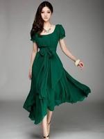 Plus Size Summer Maxi Dress Long Puff Sleeve Irregular Green Chiffon Dresses Perfumes Gagaopt Vestido de Festa longo Clothes