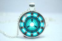 Handmade Iron Man, Tony Stark Arc Reactor inspired glass cabochon dome pendant necklace