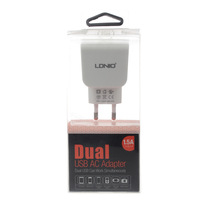 LDNIO DL-AC201 Dual-USB AC Power Charger Adapter for iPhone / iPad - White (EU Plug / 100~240V)