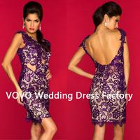 2014 Straps Purple Full Lace Short Mini Open Back Dresses Design Red Short Cocktail Dresses