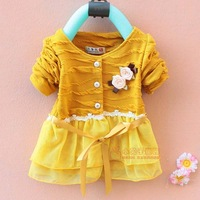 Free Shipping New 2013 Fashion Spring Autumn -summer Girl Baby Dresses Infant Girl Dresses Floral Toddler Girl Clothing Retail