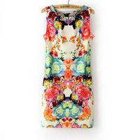 2013 New Women Retro Print Flowers Refreshing Chiffon Sleeveless Slim Dress S/M/L Free Shipping  Wholesale and retail.