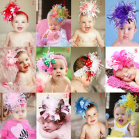 Free ePacket shipping 5pcs/lot Girl hair bows baby feather Headbands + clips Christmas kids Hair Band Hair Accessories