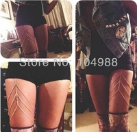 FREE SHIPPING 2014 STYLE BY-178 LEG CHAIN SWAG Silver Body Chain Jewelry Harness Bodychain Metal Garter RARE