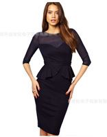 sexy black mesh sleeve Slim dress pencil skirt flounced halter