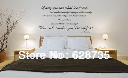 Mode muurstickers grote omvang 120x60cm een richting u zijn mooi songteksten muursticker - Mooi slaapkamer meisje ...