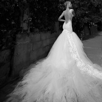 2013 fashion slim hip fish tail luxury big train long trailing sexy racerback quality wedding dress