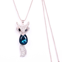 All-match multi-layer necklace accessories fox necklace long necklace design female