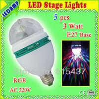 Free shipping 5 pcs/lot 3w E27 rgb led rotating lamp bulb home party christmas decoration ac 160-250v