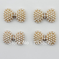 Free Shipping  Fashion Crystal Rhinestone-Buttons with Crystal and Pearl Hair bows Crystal-Beads Jewelry Accessory