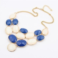 Min.Order $15 (Mix Wholesale) Factory Outlet Jewelry, Europe Circle Gemstone Style Women Alloy Necklaces,3 Colors,N598