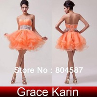 Free Shipping!Gift!Grace Karin Strapless Voile Ball Wedding Party Evening Pageant Prom Mini Dress Robe de Soiree Orange CL4793