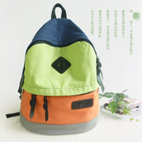 Canvas casual backpack bag student school bag unisex color block bag