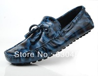 2014 New Spring/Autumn Black/Blue Men Loafers Casual Business Sneakers Genuine Leather Men Shoes Wholesale Free shipping