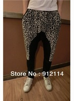 2014 Punk style Leopard splicing mens harem pants,dance pantalone,banana pants men,low drop crotch Pants for men,slacks calca