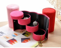 New arrival  Flannelette Portable Jewelry Storage Box Holder Cosmetic Case Organizer Gift Box 13*7.5cm Free shipping