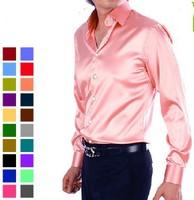 free Drop Shipping Solid color faux silk silks and satins shirt male long-sleeve shirt slim shiny costume shirt