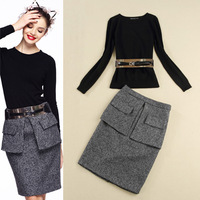2013 Winter New Europe High Fashion Women's Knitted Long-sleeve Top Woolen Skirt Fashion Professional Set With Belt SS13421