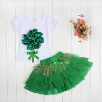 New design fashion baby girls cotton short sleeve dimensional flowers t shirt +tutu skirt 2pcs set summer kid casual clothing