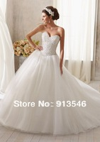 Elegant Design BD-436 Off Shoulder Sleeveless Ball Gown Tulle Beaded Crystal Pearls Custom Wedding Gown