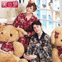free shipping Classic cartoon lovers sleepwear autumn and winter women's 100% cotton long-sleeve male lounge set