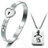2014 new arrival popular stainless steel silver color Heart Lock bangle, key pendant necklace jewelry set for couple