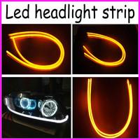 2x White Amber Flexible Tube Style Switchback Headlight Headlamp Strip Angel Eye DRL Decorative Light for BMW Ford Kia Chevrolet