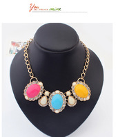 Min.Order $15 (Mix Wholesale) Factory Outlet Jewelry,Exaggeration Diamante Color Blend Style Women Alloy Necklaces,7 Colors,N600