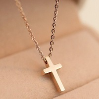 50124 Korean fashion gold plating small cross necklace chain clavicle pendant necklace